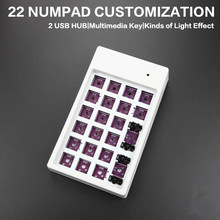 Cudigital Keypad Pad Kustomisasi Kit DIY Keyboard Mekanik 22 Tombol Berbagai Lampu Usb Hub Multimedia Kunci(China)