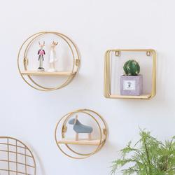 Drewniane żelaza półka ścienna złoty stojak do montowania na ścianę domu dekoracje wiszące uchwyt na doniczkę figurki z książkami Craft półki wystawowe w Ozdobne półki od Dom i ogród na
