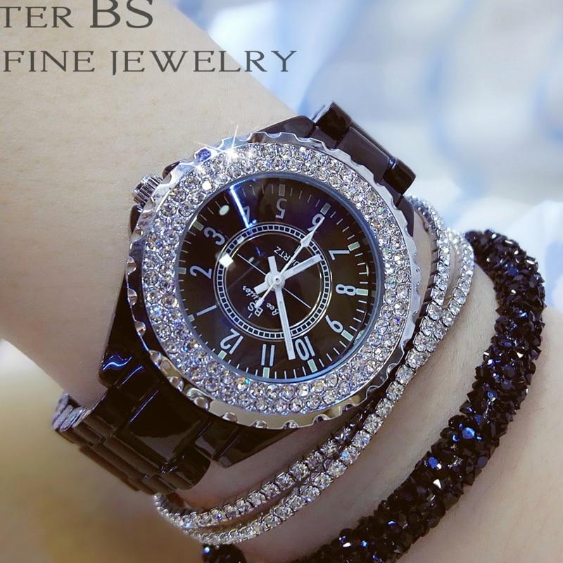 2019 Luxury Crystal Wristwatches Women White Ceramic Ladies Watch Quartz Fashion Women Watches Ladies Wrist watches for Female 5