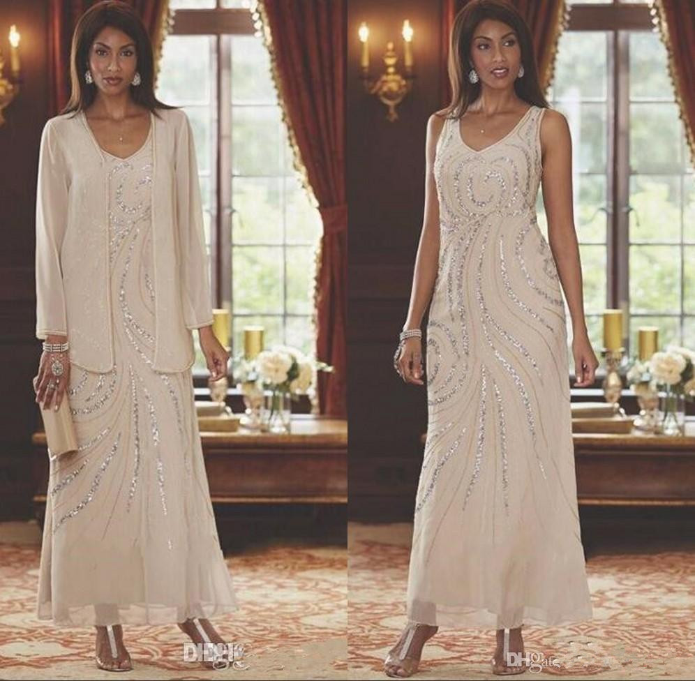 Elegant V Neck Chiffon Mother's Dresses Beaded Wedding Guest Ankle Length Mother Of The Bride Dresses With Long Sleeve Jacket