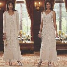 Elegant V Neck Chiffon Mother's Dresses Beaded Wedding Guest