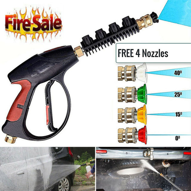 4000PSI Washer Gun High Pressure Spray Foam Lance 5Color Nozzles Water Hose Kit