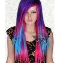 Парик Модный чудесный фиолетовый разноцветный ролевый парик панка длинные прямые