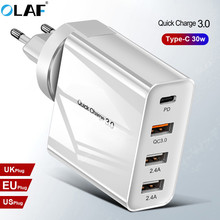 48W Multi Quick Charger PD Type C USB Charger for Samsung iPhone Tablet QC 3.0 Fast Wall Charger US EU UK Plug Adapter
