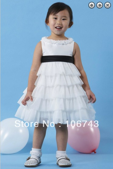Free Shipping Customized 2016 Hot White Short Sleeveless Flower Girl Dress For Wedding Gowns Kids Princess Dress Size For Girls