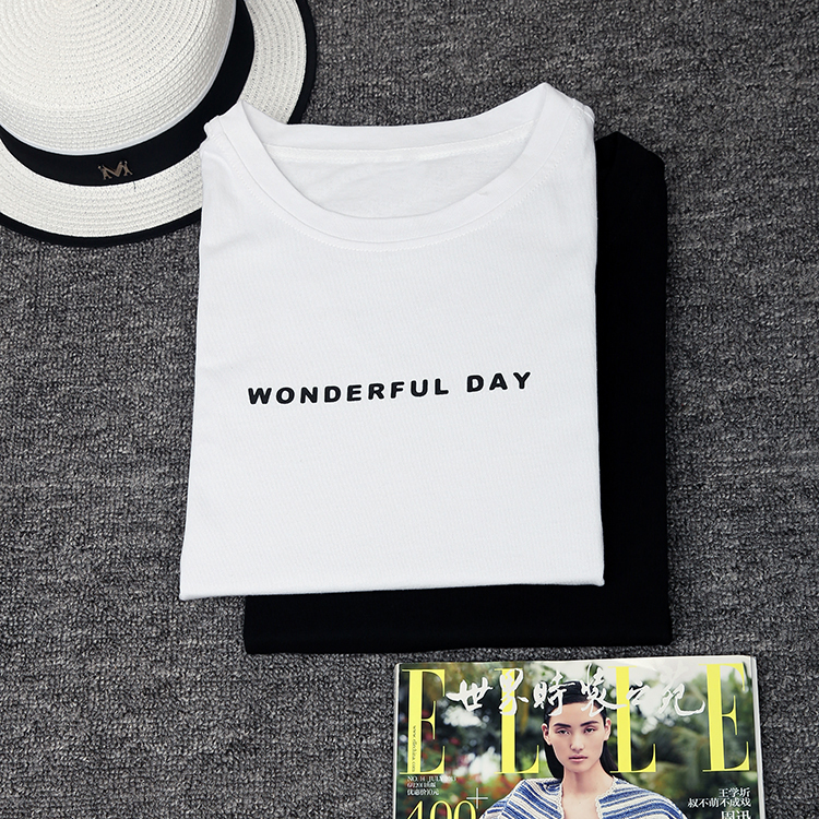 Hb808f79ef86f4c418f447d9e8c077f9c1 - Nkandby Plus size WONDERFUL DAY Print Long T shirts Summer Women Loose Slit Femme Tops Cotton Tshirt Short sleeve Ladies t-shirt