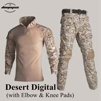 New Army Tactical Suits Airsoft Paintball Hunting Clothing Military Uniform CS Wargame Combat Shirt + Pants + Knee&elbow Pads
