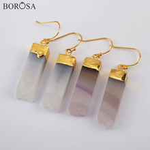 BOROSA Gold Rectangle Drop Earrings with Natural Agates Fashion Druzy Geode Agates Dangle Earrings Women Jewelry Gifts G1968 borosa 4pairs gold silver bezel drop shape agates slice drop earring gems rainbow agates druzy slice earrings jewelry wx1176