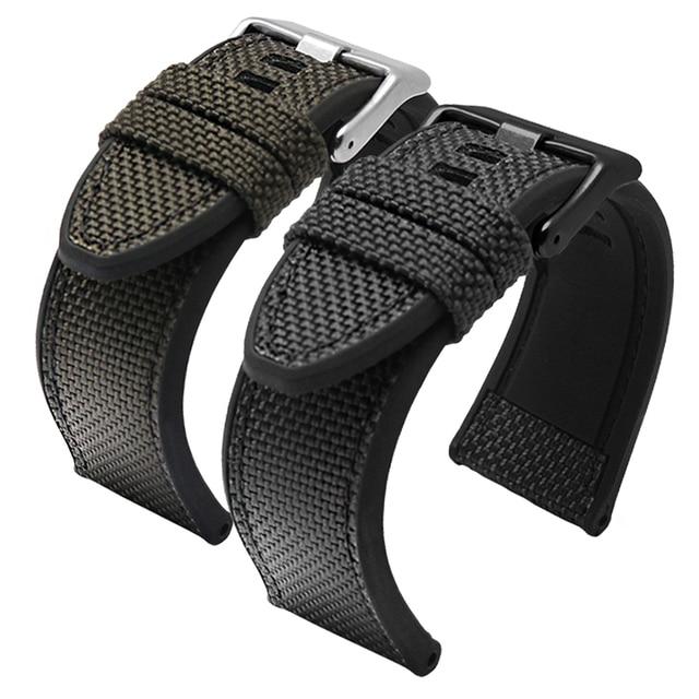 $ US $15.26 Nylon watchband for Diesel DZ4500 DZ4506 DZ7420 original 1:1 nylon canvas silicone bottom outdoor watch strap 24mm 26mm 28mm