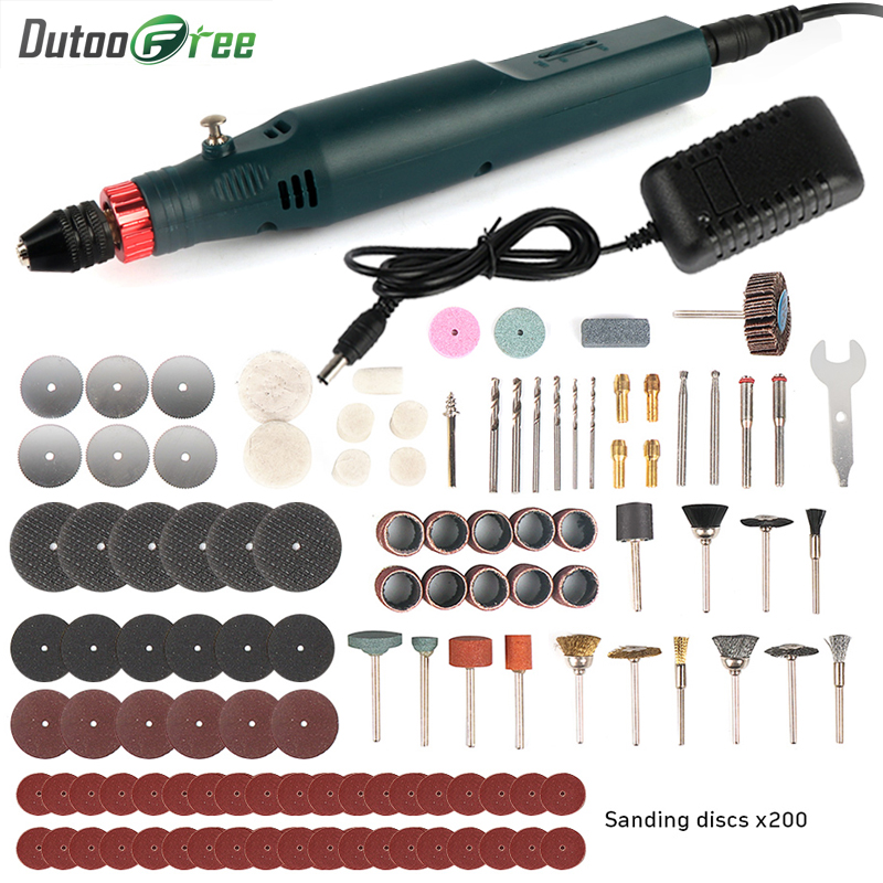 Mini taladro el/éctrico 12V Kit de amoladora el/éctrica de mini taladro Pulido Accesorios para herramientas rotativas Enchufe de la UE 220V