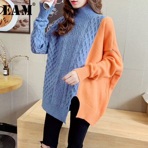 [EAM] Green Big Size Knitting Sweater Loose Fit Turtleneck Long Sleeve Women Pullovers New Fashion Tide Autumn Winter 2020 1Y219