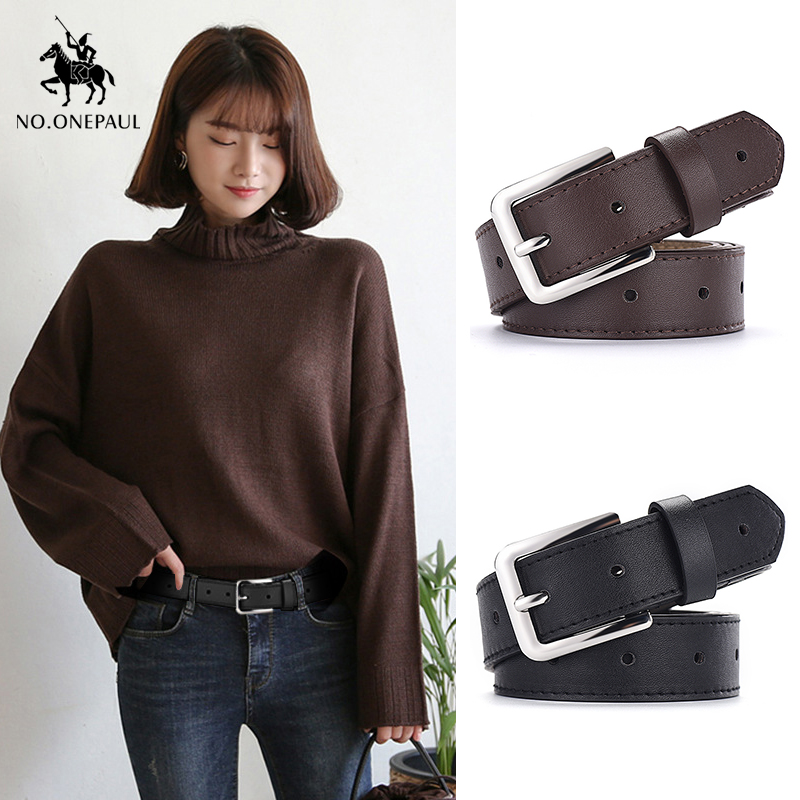 NO.ONEPAUL Women's Jeans Decorative Casual Simple Leather Belt Luxury Brand New Alloy Pin Buckle Youth Students Wild Retro Belt