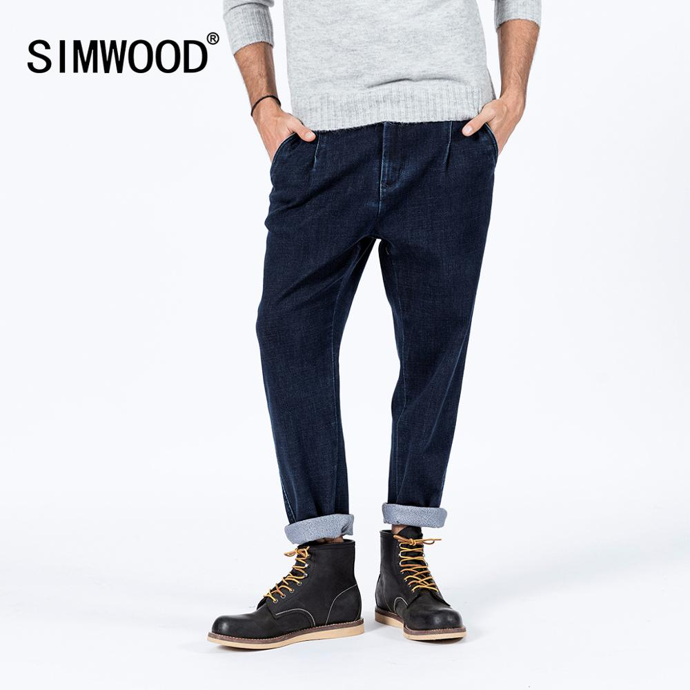 SIMWOOD Autumn Winter New Loose Taperd Jeans Men High Quality Ankle-length Thick Denim Trousers Plus Size Warm Jeans SI980687