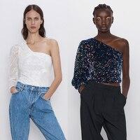2019 ZA, женские сексуальные топы на одно плечо, модная рубашка, много стилей, расшитая блестками, блестящий короткий жилет, новый темперамент, ...