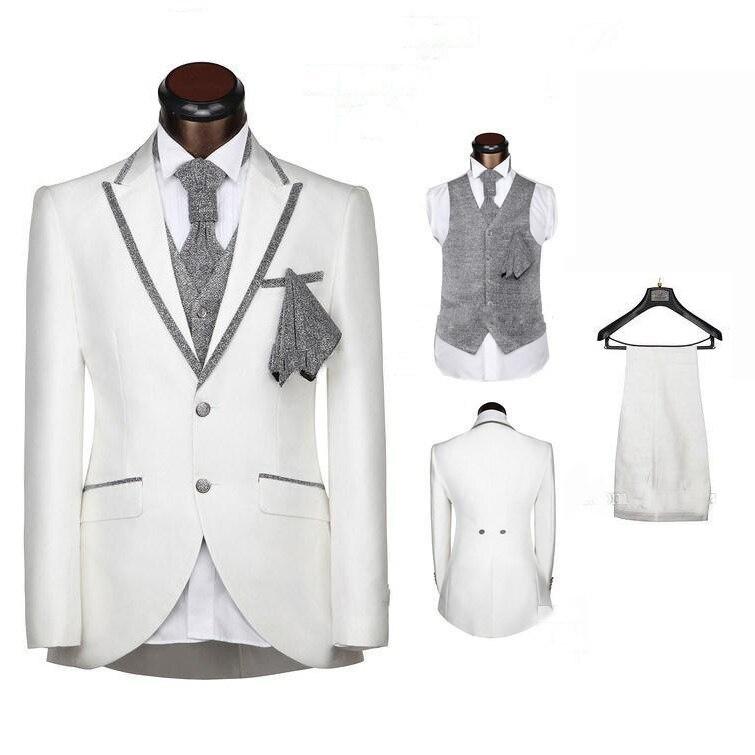 Botón Blanco Blazer Solapa Novio Esmoquin Padrinos De Boda Hombre Trajes De Graduación (chaqueta + Pantalones + Chaleco)