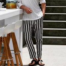 INCERUN Fashion Striped Casual Pants Men Streetwear Cotton Joggers Elastic Waist Straight Trousers Fitness Pantalon Hombre