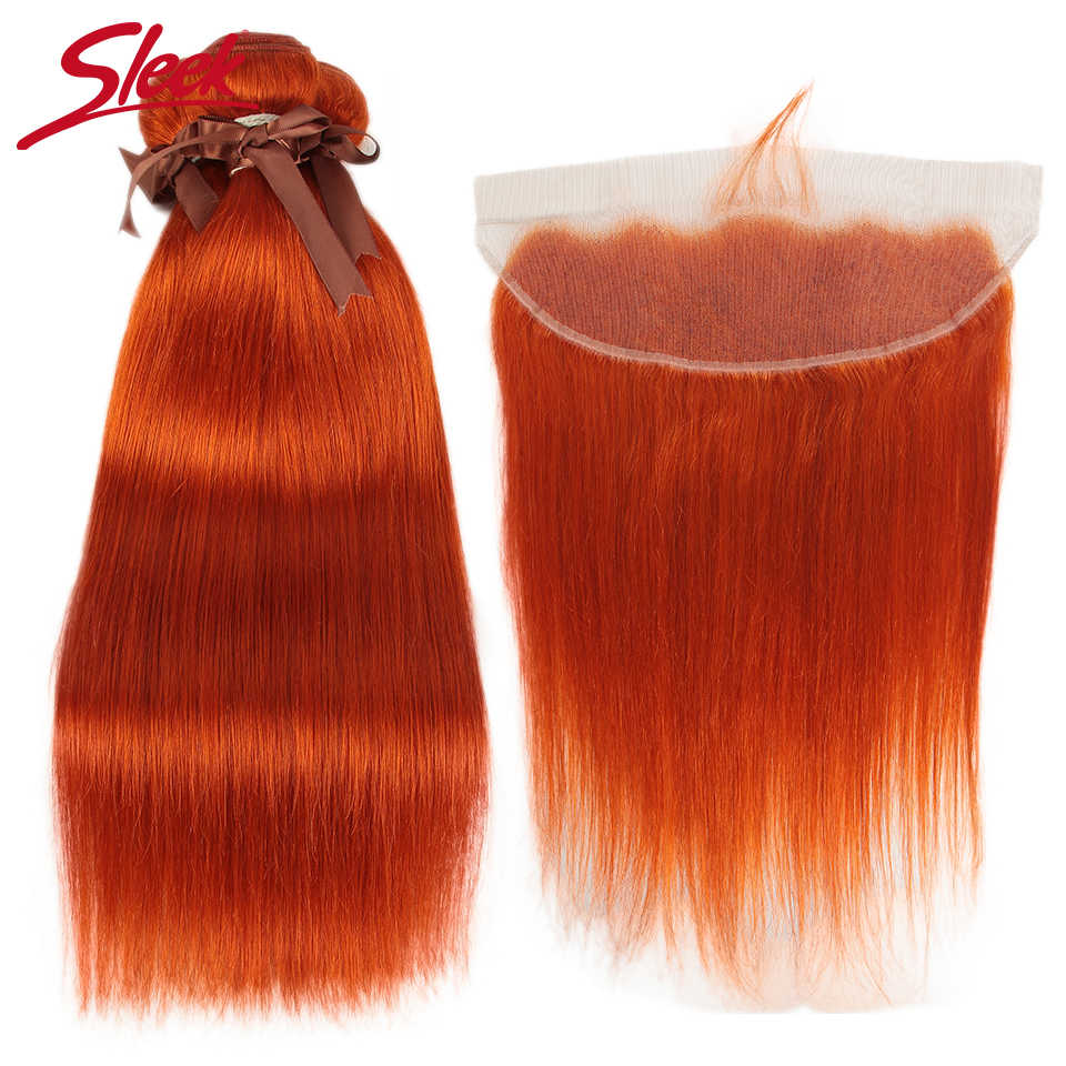 Sleek Orange Brazilian Bundles With Frontal Straight Lace Frontal With Bundles 8-28 Remy Human Hair Weave 3 Bundles With Closure