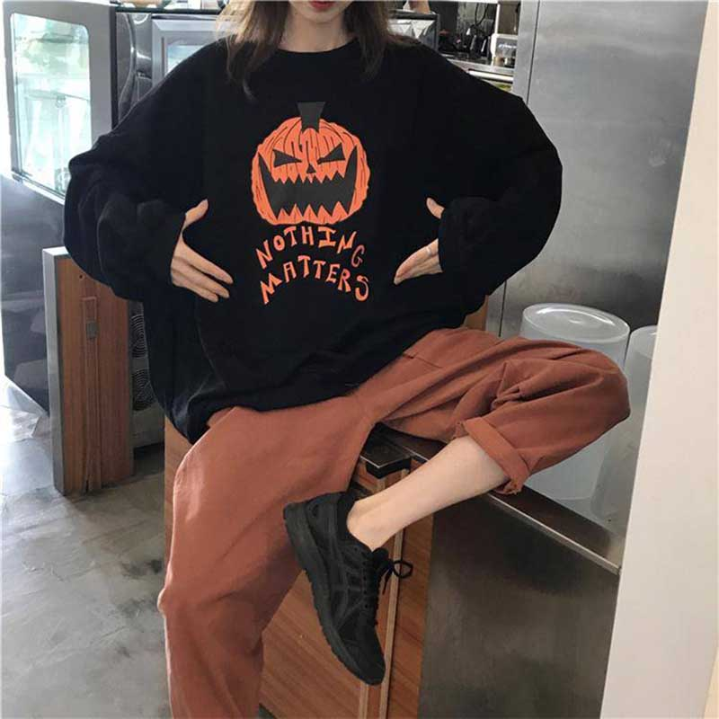NiceMix Harajuku Sweatshirt Women Patchwork Unisex Pullovers Pumpkin Print Jumpers Fake 2 Pieces Streetwear Pull MILITARY RANGER