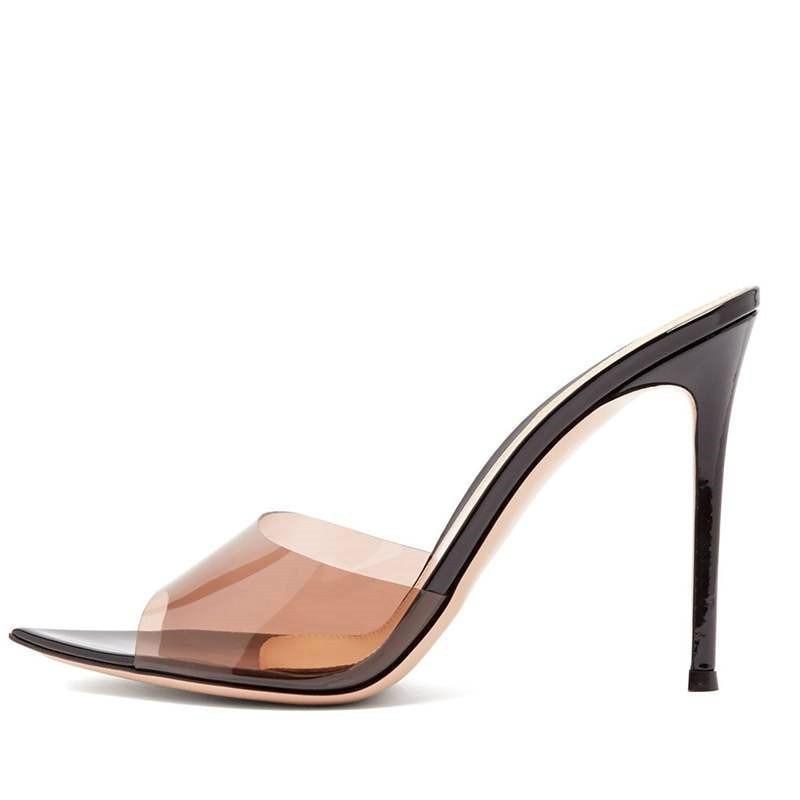 YECHNE Transparante vrouwen Slippers Zomer Vrouw Hoge Hakken Schoenen Serpentine Peep Toe Slippers Mode Transparante Slippers