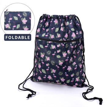 Foldable Waterproof String Backpack for Gym Workout Outdoor Running Travel Cartoon School Eco Friendly Shopping Bag with Zipper