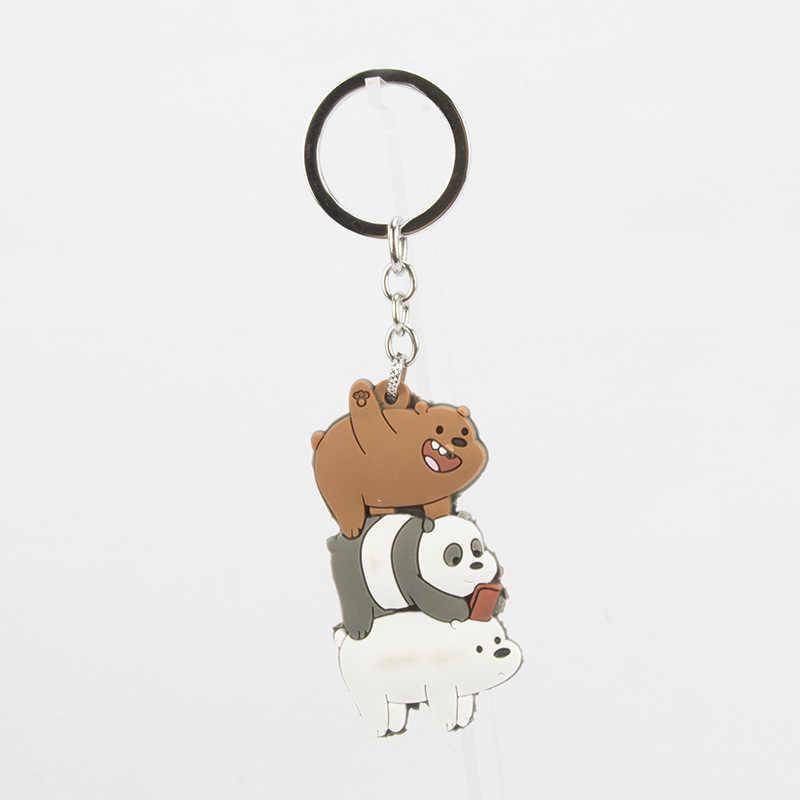 Lindo nosotros Bare Bears llavero dibujos animados Anime colgantes acrílico llaveros para mujeres niños moda Animal Series baratijas para coche clave