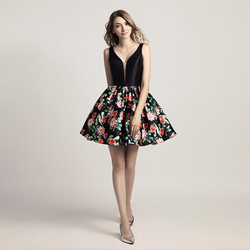 Сексуальные короткие платья для выпускного вечера с открытой спиной, с цветочным принтом, с v-образным вырезом, черный топ, дешевые вечерние