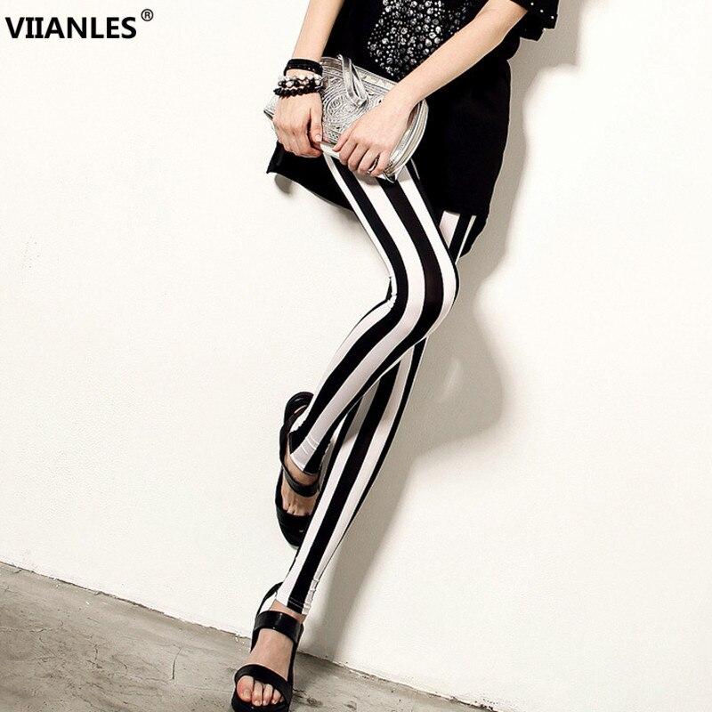 VIIANLES Summer Style Fitness Women Leggings Black White Striped Printed Leggings Slim Elastic Plus Size Pants Workout Leggings