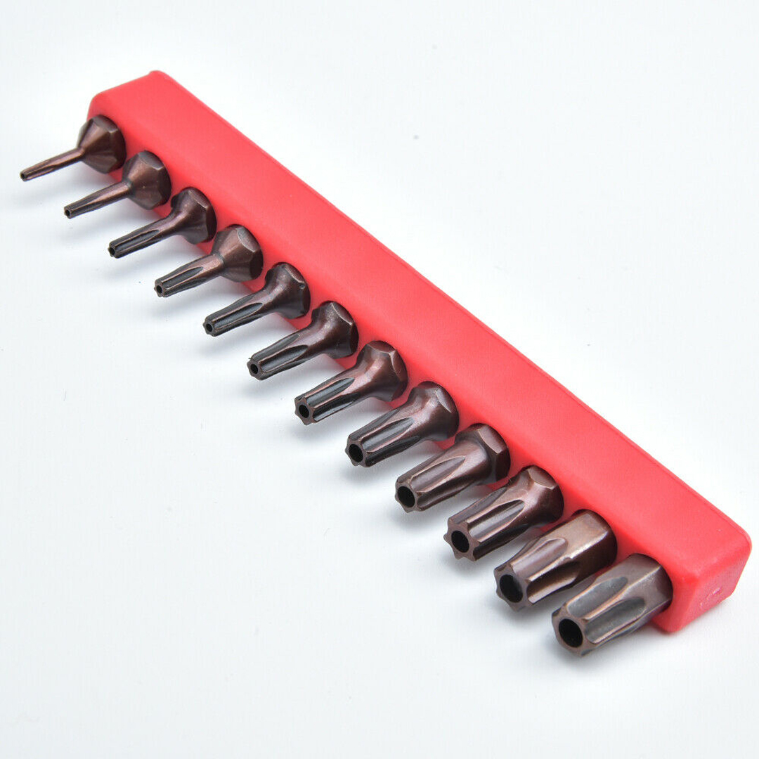12pcs Security Tamper Proof Spanner Screwdriver 25mm S2 Steel T6-T40 Magnetic Bit Set Torx Star Hex Bit Universal Tool Parts