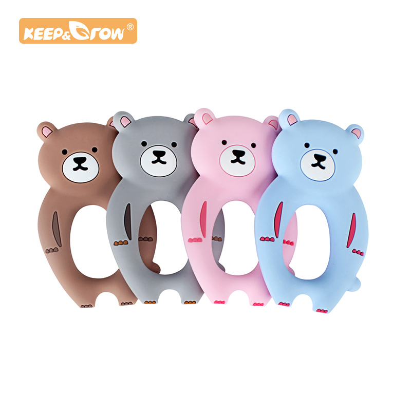 Keep&Grow 1pc Bear Silicone Baby Teether Rodent Baby Teething Toys Chewable Animal Shape Baby Products Nursing Gift Accessories