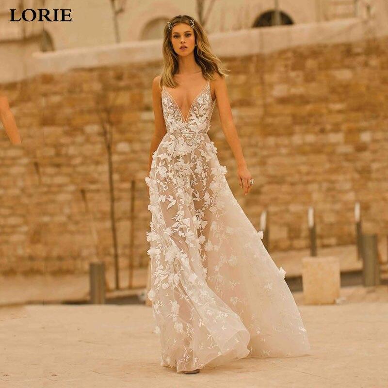 Smileven Sexy Bohemian Wedding Dress Spaghetti Sexy Deep V Neck 3d Floral Appliqued Lace Bridal Gowns Backless Vestido De Noiva