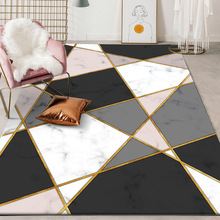 Custom made carpet fashion nordic geometry Imitation marble bedroom Office hotel Big floor mat living room Crystal velvet