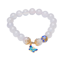 New arrive Single Ring  Natural Agate Beads Bracelet Cloisonne Blue Round Bead Butterfly Accessories 10m Pendant