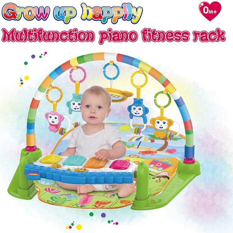 Multi-functional Early Education Children Fitness Harmonium Fitness Rack Baby Educational Music Bed Bell Light Game Blanket 2-Co