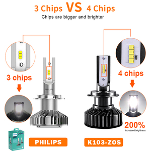 Image 2 - HLXG H4 H7 4 LEVOU Chips de LED Lâmpada Do Farol Do Carro Kit H7 12V 12000LM 80W 6500K Luz do Farol hb3 LEVOU HB4 LED H11 H8 H9 9005 9006