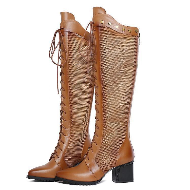 Printemps et automne nouvelles bottes en maille et bottes au genou bottes système de ventilation casque peau de vache 6cm