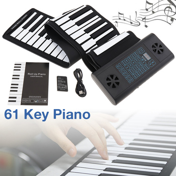 61 Keys MIDI Roll Up Electronic Piano Rechargeable Silicone Flexible Keyboard Organ Built-in 2 Speakers Supports Audio Bluetooth