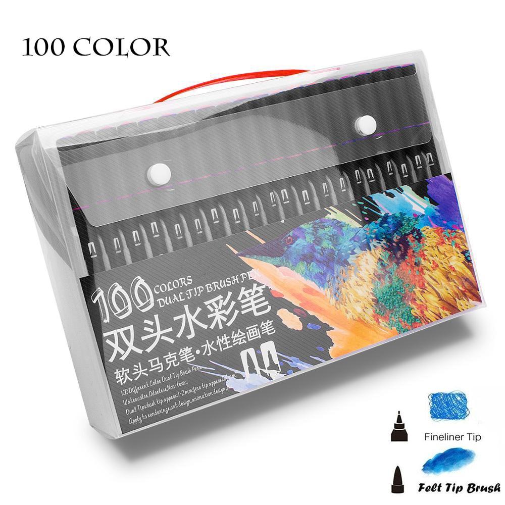 12/24/36/48/72/100 Color Fine Liner Dual Tip Brush Pen Felt-Tip Pen  Drawing Painting Watercolor Art Marker Pens School Supplies