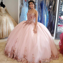 Ball-Gown Dress Quinceanera-Dresses Lace Gold Sweet Plus-Size 15-Years for Corset