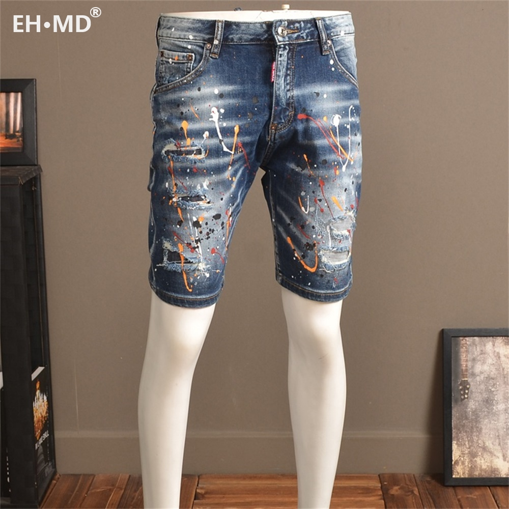 EH · MD® Painted Denim Shorts Men's Hole Five-Point Pants Pure Cotton Slim Multi-Pocket 2020 New Breathable Soft Elastic Feet