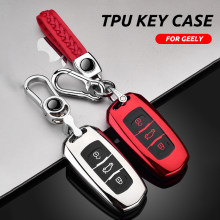 Zachte Tpu Auto Remote Key Case Cover Fob Voor Geely Atlas Boyue NL3 EX7 Emgrand X7 EmgrarandX7 Suv Gt GC9 borui Auto Smart Key Shell(China)