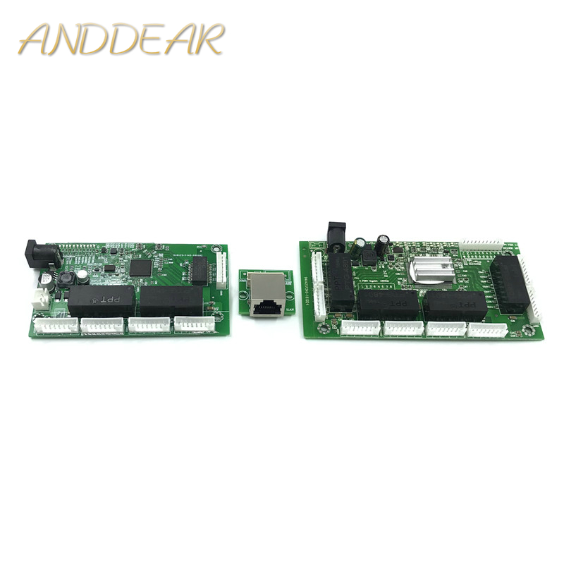 OEM PBC 8Port Gigabit Ethernet Switch 8Port With 8 Pin Way Header 10/100/1000m Hub 8way Power Pin Pcb Board OEM Screw Hole