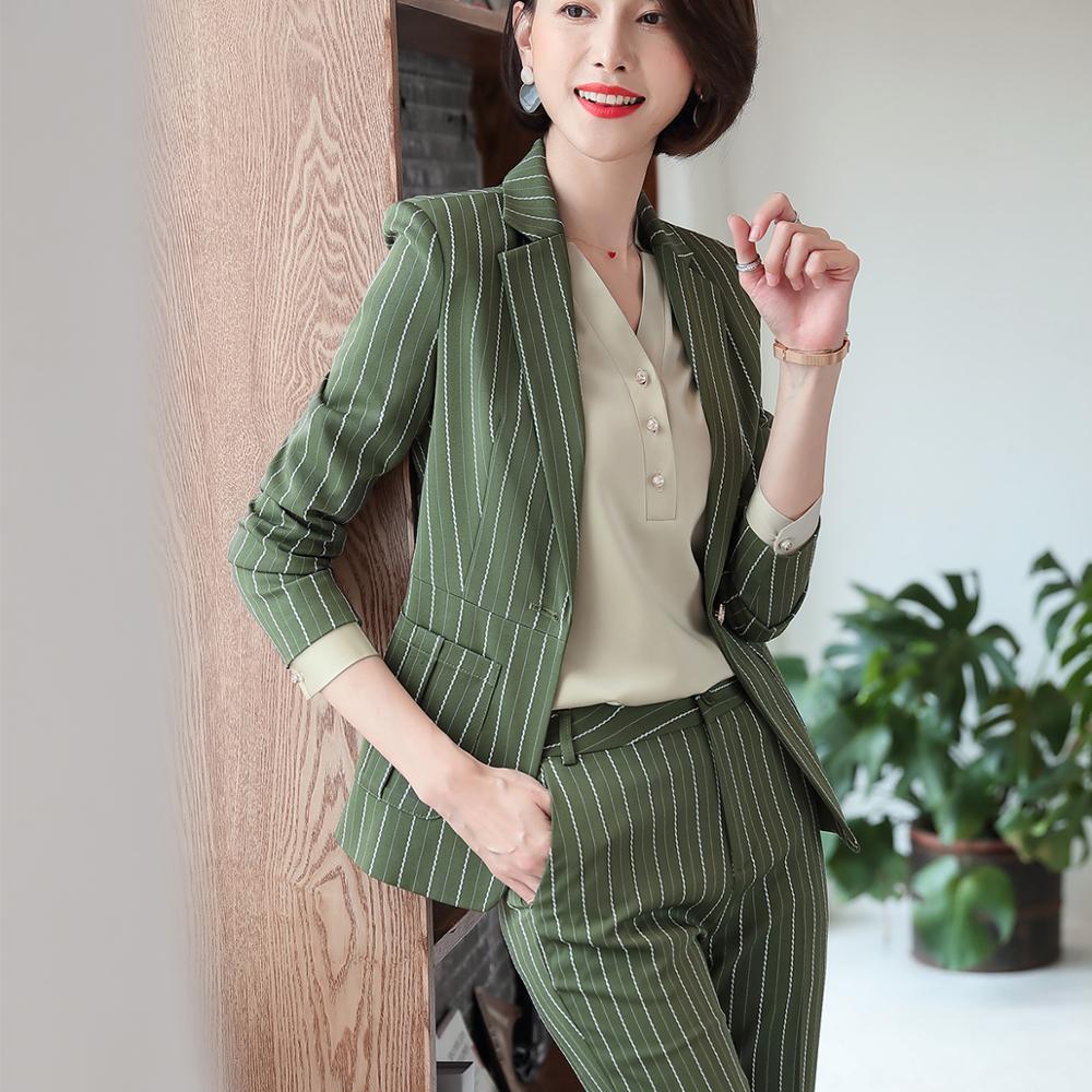Fashion women casual pant suit largest size 5XL Green Pink Striped suit Jackets And pant 2 Piece sets suits 40