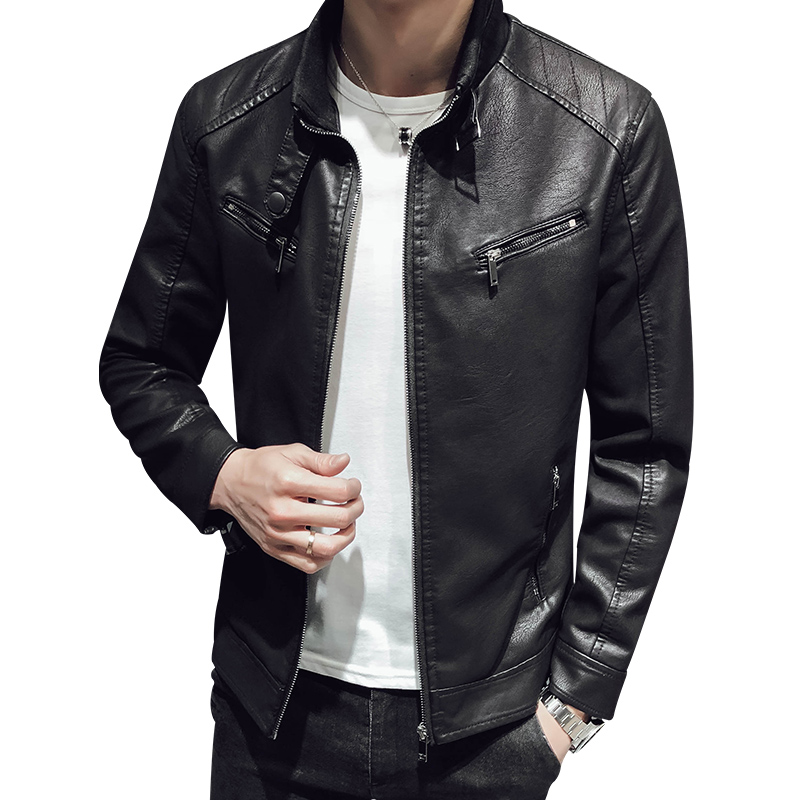 2019 Spring And Autumn Motorcycle Leather Jacket Men's Synthetic Leather Jacket Solid Color Slim Collar Zipper Fashion Coat