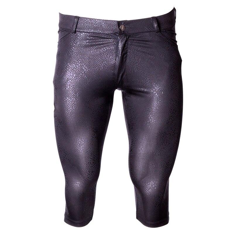 Men Snake Print Shiny Half Pants Capri Thin High Elasticity Tight Pencil Pants Pirate Shorts Leggings Night Club Sexy Gay Wear