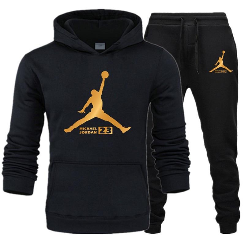 2019 New Fashion Men's Hoodie Suit Brand Sportswear Men's / Women's Sweatshirts + Sports Pants Autumn And Winter Fleece Hooded P