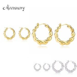 Moonmory, Стерлинговое Серебро 925 пробы, популярный дизайн, Huggie, серьги-кольца, Золотая градуированная серьга в виде кольца для европейских женщ...