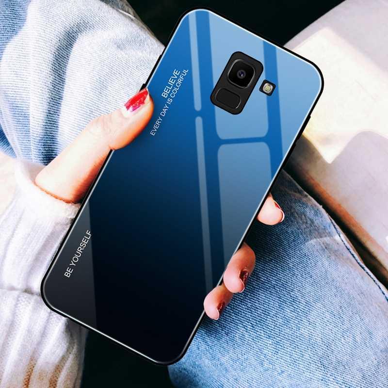 Temperli cam Samsung kılıfı Galaxy J4 J6 A6 A8 artı 2018 parlak lekeli degrade renkli kılıfları Samsung J6 J4 2018