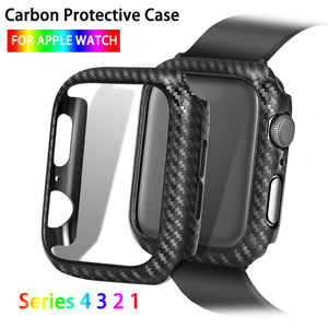 Watch Protector Cover For Apple Watch Case Series 4 3 2 1 38mm 42mm 44mm 40mm Carbon Fiber Watch Case Frame Bumper(China)