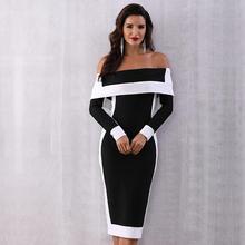 Jesień eleganckie panie Celebrity suknia wieczorowa kobiety z długim rękawem Off Shoulder 2019 Winter Sexy wieczorowa, klubowa sukienki Vestidos