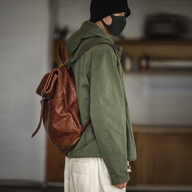 Maden Men's Lace Up Hoodied Pullover Sweatshirt Long Sleeve Deck Parka Hoodie Green
